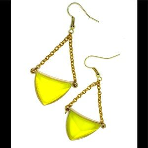 Chartreuse Triangle Point Chain Trapeze Earrings